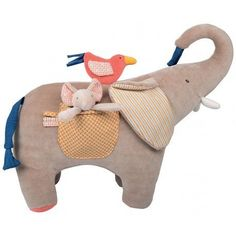 This large activity elephant from Moulin Roty is a gorgeous grey soft plush toy great for cuddling with large pocket containing a smaller elephant toy that rattles when baby shakes it in the same soft plush materia. Pet Toys, Baby Toys, Kids Toys, Children's Toys, Sewing Toys, Sewing Crafts, Sewing Stuffed Animals, Activity Toys, Little Unicorn