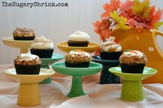The Sugary Shrink: Apple, Butterscotch, and Carrot: The ABCs of Autumn Cupcakery displayed on Fiestaware