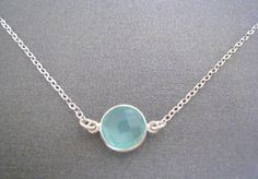 NEW!! Aqua Chalcedony Bezel 10mm Round Gemstone Sterling Silver Chain Necklace