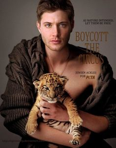 Jensen Ackles for PETA - anything for him.  but I have to ask.....boycott the circus, but that's b/c baby tigers are only for photo shoots for PETA?  Idiots.