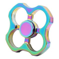 3-5 Mins Fidget Spinner EDC Hand Fidget Toy Multicolor Spinner Pepper Design Titanium Rainbow Electroplating Alloy Stress Reducer High Speed R180 Stainless Steel Bearing Finger Tri-Spinner Relief Toy...