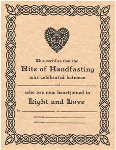 Handfasting Certificate, Hand Fasting Certificate, Engagement, Promising, Wicca, Wiccan, Witchcraft, Book of Shadows Page
