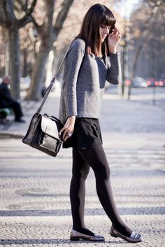 skirt + tights + sweater + flats