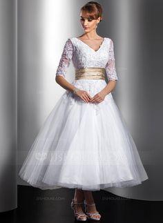 [US$ 164.49] A-Line/Princess V-neck Tea-Length Tulle Wedding Dress With Sash Beading Appliques Lace (002014739)
