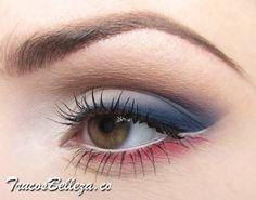 Maquillaje de dia con sombra azul y rojo