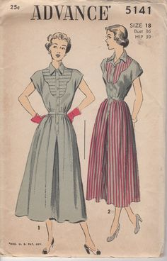 Items similar to Advance One Piece Dress Pattern with Contrast front and A line skirt - Bust - No. 5141 on Etsy Vintage Midi Dresses, Vintage Style Outfits, Vintage Fashion, Vintage Clothing, 1940s Fashion, Vintage Sewing Patterns, Clothing Patterns, Dress Patterns, Clothing Ideas