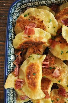 These pierogies have a tender, pasta-like dough on the outside, and creamy, tangy potato and bacon filling on the inside. Serve these Polish dumplings as a main course or an appetizer. Lasagna Recipes, Cod Recipes, Kale Recipes, Carrot Recipes, Good Healthy Recipes, Bean Recipes, Turkey Recipes, Casserole Recipes, Dinner Recipes
