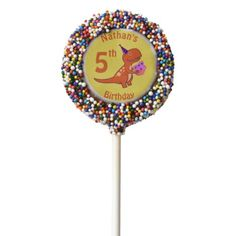 Tyrannosaurus Birthday Chocolate Dipped Oreo Pop - you deserve it! Tap/click for yours!