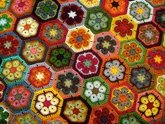 African flower afghan WIP by ltl blonde, via Flickr