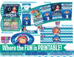 Super Party Kit PONYO Anime Fiesta Imprimible por Printnfun en Etsy, €18.00 #ponyoparty #ponyo #ponyopartykit #ponyoprintables