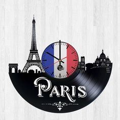 Paris Skyline Design Handmade Vinyl Record Wall Clock - Get unique living room, bedroom or nursery wall decor - Gift ideas for adults and youth City Of France Unique Modern Art Vinyl Record Clock, Record Wall, Vinyl Records, Nursery Wall Decor, Wall Art Decor, Bedroom Wall, Clock Art, Wall Clocks, Skyline Design