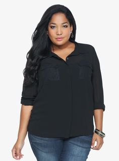 Black Lace & Chiffon Button-Up Top | Torrid
