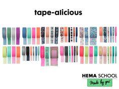 Washi tape kun je nooit genoeg hebben! Je vind ze in alle kleuren van de regenboog gewoon bij HEMA.