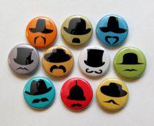 Aimants moustache chapeau