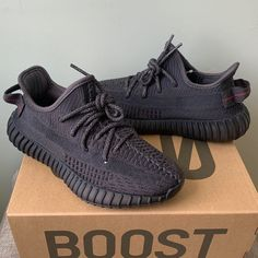 Yeezy Boost 350 Black (Size on Mercari Yeezy Boost 350 Black, Yeezy 350 V2 Black, Yeezy Fashion, Sneakers Fashion, Walk In My Shoes, Me Too Shoes, Black Yeezys, Yeezy Collection, Adidas Shoes Outlet