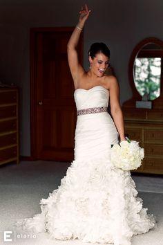 grey sash wedding dress, fluffy wedding dress #weddings #brides #fluffydress #ruffles #weddinggown