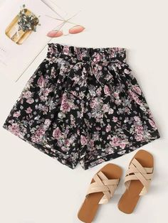 ((Affiliate Link)) Description Style:	Casual Color:	Black Pattern Type:	Floral Details:	Belted, Paper Bag Waist Type:	Wide Leg Season:	Summer Composition:	65% Cotton, 35% Polyester Material:	Cotton Blends Fabric:	Non-stretch Sheer:	No Fit Type:	Regular Waist Type:	High Waist Closure Type:	Elastic Waist Belt:	Yes