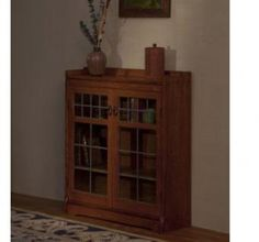 Bookcase with leaded glass doors