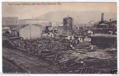 Circa 1907 Titusville PA Von Tackey Refinery after the Fire Vintage Postcard