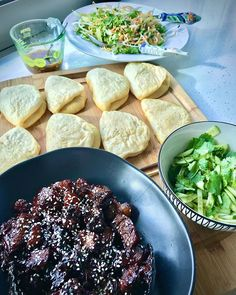 Look what was served tonight from scratch Bao buns with sticky pork belly and spicy hosin with cucumber & coriander was simply delicious thank you so much Tobs Sticky Pork, Bao Buns, Pork Belly, Coriander, Great Recipes, Cucumber, Spicy, Meat, Cooking