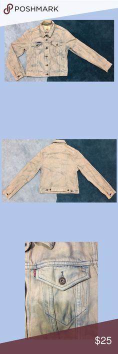 """Levi's Jean Jacket """"Positively Superior"""" ❀ Levi's """"Positively Superior"""" Jean Jacket   ❀SIZE- L (runs small)  ❀Acid wash style   ❀ MADE IN CHINA  ❀Great Condition  ❀ Kindly see measurements in photo  ✷✷✷ care label was cut off✷✷✷ Levi's Jackets & Coats Jean Jackets"""