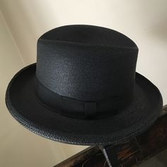 Straw Fedora Milam Weave.  Black straw hat, wow! Dynamic! A sharp vintage piece to take your suit to another level! Indeed this black straw hat, with a handsome wide band says I've arrived! Milam weave Accessories Hats