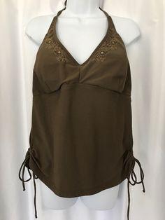 3d26f28853bec Torrid Women s Plus Size 2 Brown Tankini Swimsuit Top Padded Ruching Halter   Torrid  TankiniTop