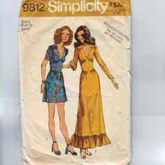 1970s Vintage Sewing Pattern Simplicity 9812 Mini Maxi Dress Size 9 Bust 32 1971 70s