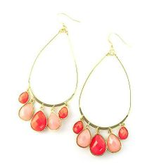 """Fashion Dangle Earrings; 3.5"""" Drop; Gold Metal; Pink and Neon Pink Gemstones; Eileen's Collection. $16.99"""