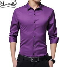 high Quality 2017 men casual slim fit Shirt Men s Long Sleeve silk shirts  Turn-down Collar cotton dress Shirts size 6d781b5e6427