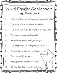 Long I Sentences *FREEBIE* Word Patterns, Spelling Patterns, Cvce Words, Word Sentences, Long I Words, Vowel Worksheets, Coloring Worksheets, Free Homeschool Curriculum, Reading Tutoring