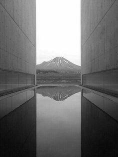 Hoki-fuji from Shoji Ueda Museum of Photography in Houki (near Yonago), Tottori, Japan. Built by the famous Japanese architect, Tadao Ando. Concrete Architecture, Contemporary Architecture, Landscape Architecture, Interior Architecture, Ancient Architecture, Sustainable Architecture, Tadao Ando, Tottori, Mont Fuji
