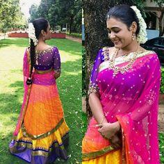 Shalini Pandey in Golden Threads Lehenga Crop Top, Half Saree Lehenga, Sarees, Lehenga Blouse, Half Saree Designs, Blouse Designs, Beautiful Saree, Beautiful Indian Actress, Indian Wedding Couple Photography
