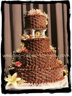 Learn how to basket weave a wedding cake at Wedding Cakes For You. This wonderfully delicious chocolate wedding cake was made using the easiest recipes and methods.