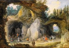 Joos de Momper - A Hermit before a Grotto (A Mountainous Landscape with Pilgrims at a Chapel in a Grotto).