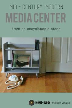 Turn an outdated encyclopedia stand into a media stand | {Home-ology} modern vintage