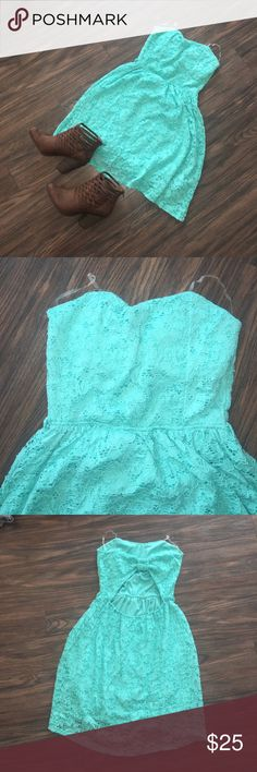 VANITY blue strapless open bow back dress 👗 NWT This dress is PERFECT for the summertime! The open back is so cute, not to mention that it looks like a bow above the opening!! Get this dress in your closet today!! Vanity Dresses Strapless