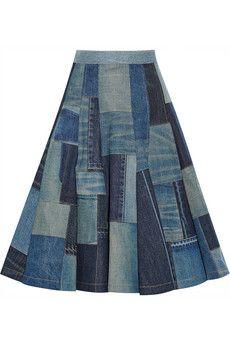 Junya Watanabe Patchwork denim midi skirt | NET-A-PORTER