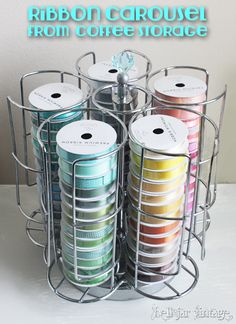 Bell Jar Vintage: Thrifty Repurposing: Ribbon Spool Carousel from Tassimo Pod holder Ribbon Organization, Ribbon Storage, Sewing Room Organization, Craft Room Storage, Diy Ribbon, Craft Rooms, Storage Ideas, Stamp Storage, Organizing Crafts