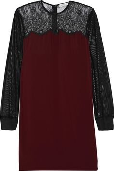 SANDRO Roots lace-paneled crepe and tulle mini dress. #sandro #cloth #dress