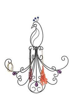 Black Jeweled Peacock Jewelry Display