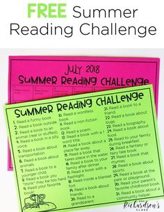 Use this FREE summer reading challenge to keep your students reading throughout the summer! It's the perfect thing to add to yoru summer bucket challenge for your kindergarten and first grade readers! Reading Goals, Student Reading, Kindergarten Reading, Kids Reading, Reading Activities, Teaching Reading, Summer Activities, Indoor Activities, Family Activities
