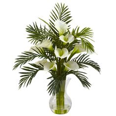 Artificial Flowers -Cream Calla Lily And Palm Combo Arrangement Silk Flowers art – Wrought Iron Haven