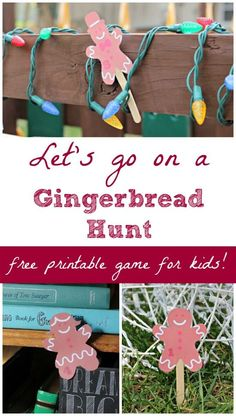 DIY Christmas games for kids: Go on a Gingerbread Hunt!  Includes a free printable gingerbread players -- great to use for puppet shows too!