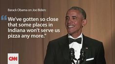 """WHITE HOUSE CORRESPONDENTS DINNER (April 25, 2015) ~ Pres. Obama on V.P. Joe Biden: """"We've gotten so close that some places in Indiana won't serve us pizza any more."""""""