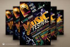 Music Festival Flyer Template V3 by ThatsDesignStore on Creative Market