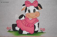Aline - Pintura em Tecido: Vaca Sentada