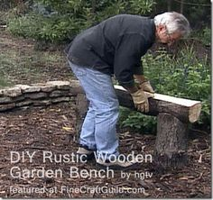 Rustic Garden Benches: Stone or Wood? There's a link in the article pointing to the instructions for the wood bench.