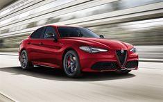 Download wallpapers Alfa Romeo Giulia Veloce, 2018, Q4, sports sedan, new red Giulia, exterior, italian cars, Alfa Romeo
