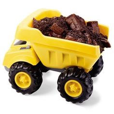 Dump truck cake idea, maybe use brownies instead. Also suggests using mini-trucks loaded with a cupcake and cookie crumbs (dirt) to make the dessert and party favor all in one.
